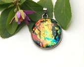 Fused dichroic glass large oval pendant, red golden Sunset