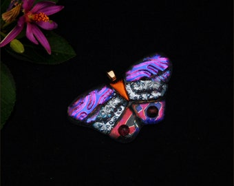Butterfly pendant, fused dichroic glass, pink and purple, silver, red, dots,  transparent