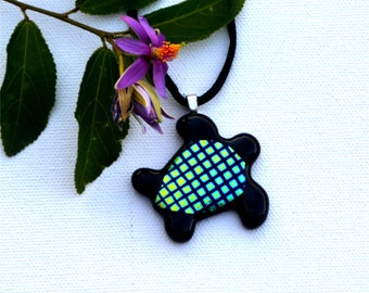 Fused dichroic glass sea turtle pendant, yellow, green, blue squares