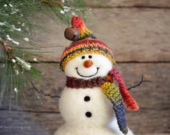 Snowman - handmade - needle felted- one of a kind -  721
