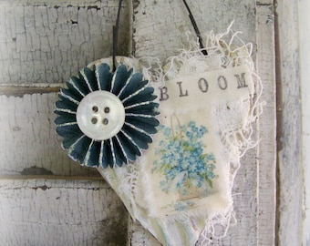 Shabby White Decor Floral Heart Ornament Vintage Lace  Vintage Mixed Media Cottage Style Heart Wall Hanging Antique Paper Heart Ornament