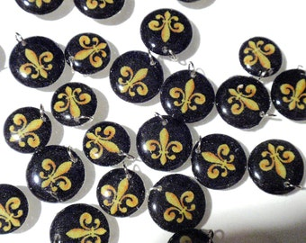 Fleur De Lis Charms Handmade Acrylic Lentil Beads French Flower Large Lentil Charms Geometric Dangles Pendants RTS or Custom OrderA3