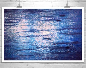 Indigo, Rain Picture, Water Art, Raindrops, Water Ripples, Water Reflections, Abstract Art, Blue, Photo on Canvas, Picture Gift, Wall Art