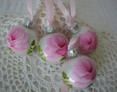 Small Glass Ball Ornaments Hand Painted Pink Roses 4 piece Set Metallic Silver