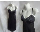 50s Vintage Slip Size S 34 Black Nylon Lace Vanity Fair 60s LBD Nighty Dress