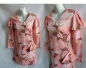 Vintage 60s Dress Size M Peach Pink Mod Cocktail Gogo Flutter Sleeve Floral Bow
