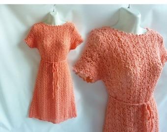 Vintage 60s Dress Size L Orange Sherbet Crochet Lace Mod Shift Hippie Boho