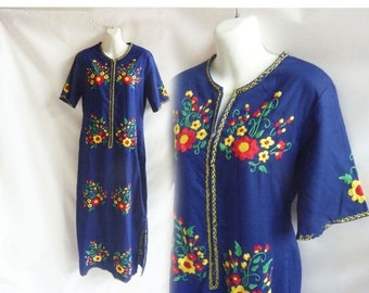Vintage 60s Kaftan Size M L Navy Blue Dress Caftan Tribal Hippie Boho Thailand