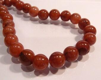 Cola Brown Jade Smooth Round Gemstone Beads....10mm....6 Beads