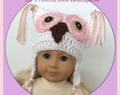 Doll Clothes Made To Fit American Girl,  Crochet Owl Jester Earflap Hat with Braids, Handmade, So Cute!