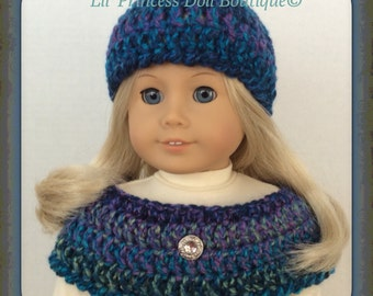 Made To Fit American Girl Doll,  Crochet Capelet and Hat, Caribbean Teal Tweed, 18 Inch Doll Clothes