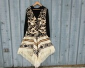 Lg. Hooded Ethnic Tribal Bohemian Dress// Long Maxi// Upcycled// Black Cream// emmevielle