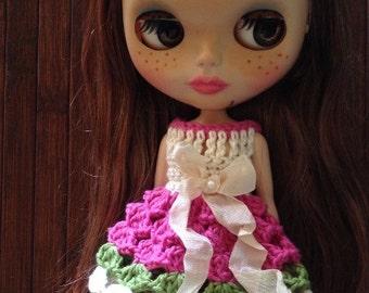 Neo Blythe Princess Crochet Dress - Pink
