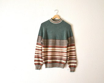 70's Knit Striped Pullover Sweater