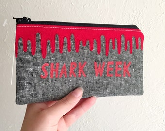 SHARK WEEK - Tampon Case - Dripping Blood Applique Pouch - Zippered Pouch