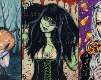 HALLOWEEN 5 x 7 Print Set or Individually Gothic Fantasy Art Pumpkin Jack-o-lantern Frankenstein Candy Victorian Colorful Dark Portraits