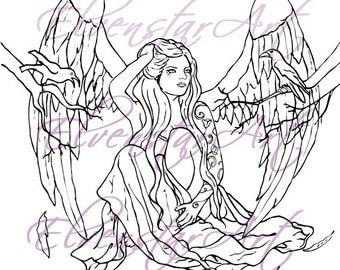 DIGI Stamp Printable Scrapbooking Card Making Crafts Fantasy Gothic Angel tattoos Birds Crows Wings Digital Stamp Download Coloring