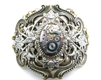 Steampunk Brass & Silver Large Ornate Floating Leaf Bracelet