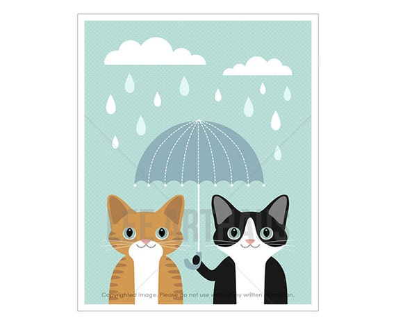 54F Cat Prints - Ginger Tabby and Black and White Cat with Blue Umbrella Wall Art - Umbrella Print - Cat Lover Art - Baby Boy Room Decor