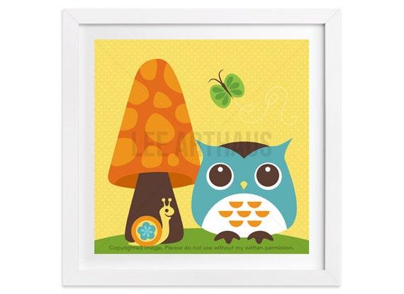 41 Owl Art - Owl with Butterfly Wall Art - Modern Animal Art - Owl Print - Art for Bathroom - Art for Nursery - Owl Lover - Owl Nursery