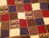"Horseshoes and Cowboys Rag Quilt....Approx. 49"" x 63"""