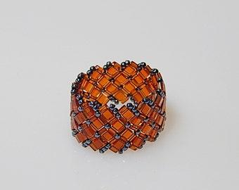 Basket Weave (Redish-Brown) Ring