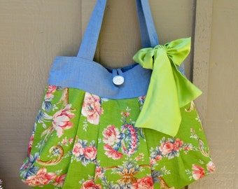 Pleated Handbag Purse Tote Bag Vintage Fabric Silk Bow