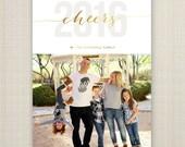 New Years Card, Modern New Years Card, Photo New Years Card, Holiday card, Printable New Years Card - 2016.