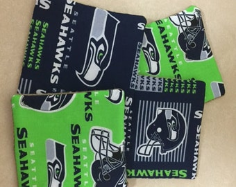 4 -  five inch square SEATTLE SEAHAWKS coasters Handmade with Burlap backing