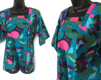 60s 70s Aqua Pink Green Novelty Owl Print Design House Open Back Smock Top M