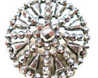 "1800s Antique cut steel star BUTTON, Victorian metal snowflake, 7/8""."