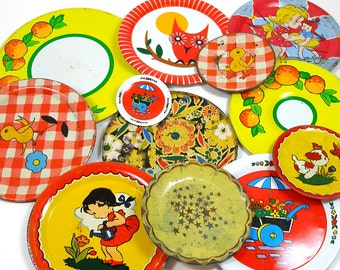 60s Tin Toy Tea saucers, Storybook set of 12 in red & yellows, Instant Collection.