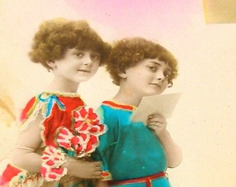 20s French postcard, Girls mailing a letter, RPPC, paper ephemera.