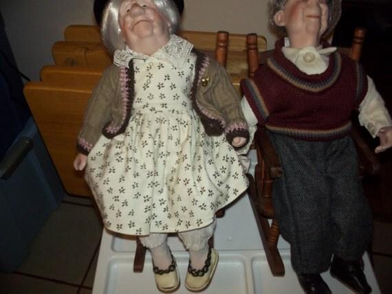 Grandma And Grandpa Porcelain Dolls In A Rocking Chair Price