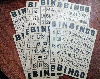 Vintage Bingo Cards set of 12