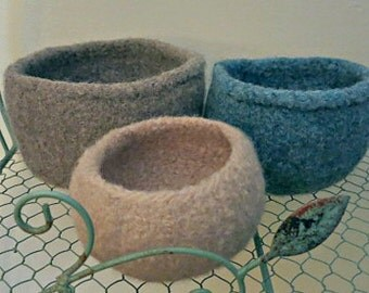 Felted Bowls - Nesting Bowl Set - Hand Knit Wool Bowls -  Knit Felted Vessels -  Brown and Blue Felt Bowls