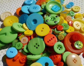 Aqua Yellow Green Orange Buttons - Assorted Round Sewing Button - 165 Buttons - Citrus Blend