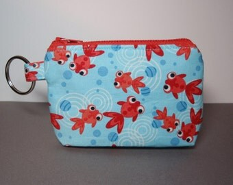 Little Goldfish - Cotton Zipper Pouch Small Coin Purse or Dice Bag