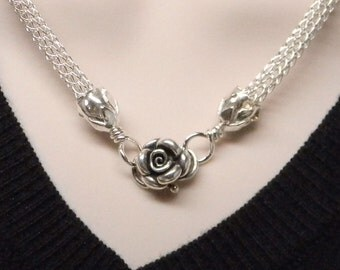 The Roses No 2 Slave Collar Sterling Silver Hand Woven Viking Knit Chain MADE TO ORDER