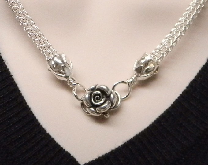 Featured listing image: The Roses No 2 Slave Collar Sterling Silver Hand Woven Viking Knit Chain MADE TO ORDER