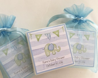 Baby Boy Elephant Shower favors, party favors,  set of 10 soap favors, Blue Watercolor Stripe