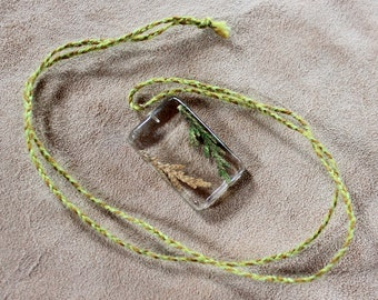 Cedar needles in plant-based resin with braided cord necklace - simple nature jewelry ecoresin bioresin bio eco resin