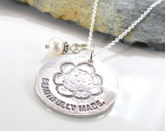 Beautifully Made - Silver Necklace - Fine Silver Pendant - Inspirational Necklace - Quote Jewelry - Beth Cole