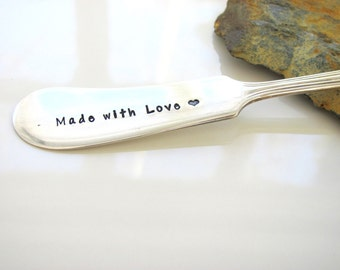 Cheese Spreader - Vintage Silver Plated - Hand Stamped  - Ready To Ship - Made with Love