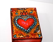 Heart Me - Aceo Giclee print mounted on Wood (2.5 x 3.5 inches) Folk Art  by FLOR LARIOS