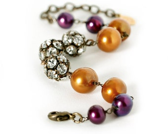Rhinestone and Pearl Bracelet, Plum and Orange Freshwater Pearls, Purple, Brass, Autumn, Fall, Wedding Bracelet, Pumpkin Orange