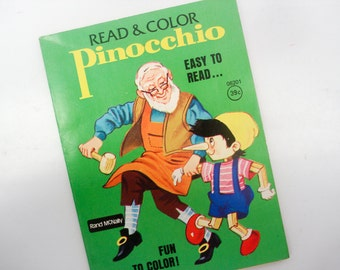 Vintage Pinocchio story and coloring book