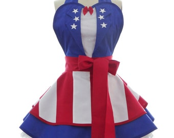 Retro Apron - USO Captain America Costume Apron - 4th of July - Kitchen, Hostess, & Cosplay Aprons for Women by BambinoAmore