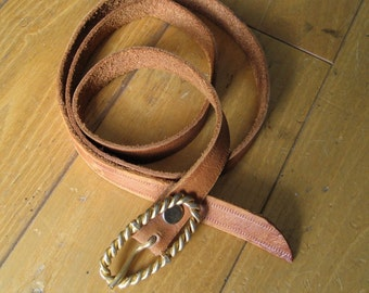 Vintage 70s Tan Brown Skinny Leather Belt with Gold Tone Buckle