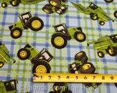 John Deere Farm Tractors Big Machinery on Plaid BY YARDS Springs Cotton Fabric